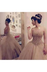 Sleeveless Ball Gown Sweetheart Floor-length Tulle Sequins Prom Dress with Lace and Pleats