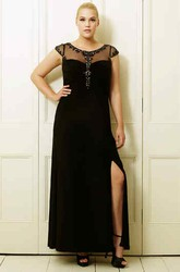 Scoop-Neck Beaded Short-Sleeve Ankle-Length Chiffon Plus Size Prom Dress With Split Front
