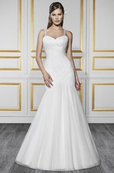 Mermaid Strapped Beaded Sleeveless Tulle&Satin Wedding Dress With Criss Cross