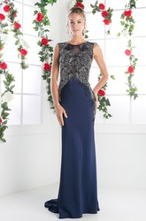 Sheath Long Jewel-Neck Sleeveless Jersey Illusion Dress With Appliques
