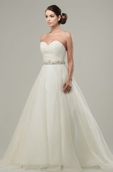 A-Line Jeweled Maxi Sweetheart Tulle&Satin Wedding Dress With Criss Cross And Bow
