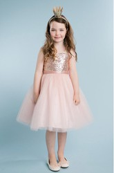 Spaghetti Midi Tulle&Sequins Flower Girl Dress