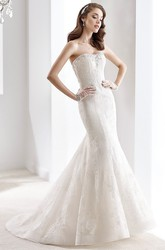 Strapless Sheath Mermaid Lace Gown With Beaded Bust And Open Back