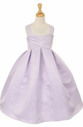 Tea-Length Beaded Sleeveless Satin Flower Girl Dress