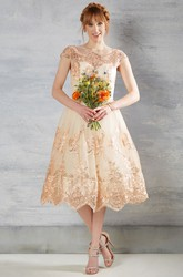 Tea-Length A-Line Bateau Neck Appliqued Cap Sleeve Lace Wedding Dress