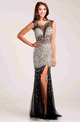 Tulle Sleeveless Illusion Back Sequined Prom Dress With Side Slit