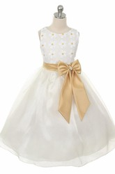 Floral Tea-Length Bowed Lace&Sequins Flower Girl Dress With Tiers