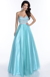 Tulle Sweetheart A-Line Sleeveless Prom Dress Featuring Jeweled Bodice And Open Back