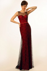 Sheath Appliqued Sleeveless Floor-Length Scoop Lace Prom Dress With Low-V Back And Sweep Train