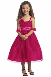 Spaghetti Tea-Length Bowed Sequins Flower Girl Dress With Cape