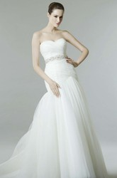 Mermaid Sleeveless Sweetheart Criss-Cross Tulle Wedding Dress
