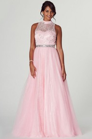 A-Line High Neck Appliqued Sleeveless Tulle Prom Dress