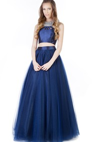 A-Line Long Sleeveless Beaded Tulle Prom Dress With Pleats