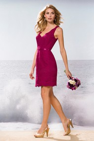 V-Neck Sleeveless Short Lace Bridesmaid Dress With Keyhole Back