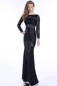 Long Sleeve Trumpet Lace Prom Dress With Rhinestones