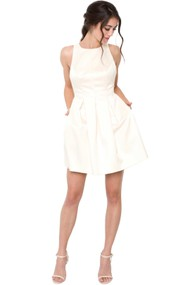 A-Line Bowed Sleeveless Jewel Mini Satin Little White Dress With Low-V Back