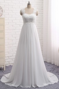 A-line Lace-up Chiffon Empire Elegant Queen Anne Lace Wedding Dress With Key Hole