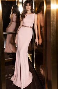 Elegant Sheath Bateau Satin Floor-length Sleeveless Evening Dress with Belt