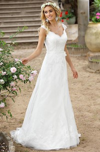 A-Line V-Neck Cap-Sleeve Lace Wedding Dress With Illusion