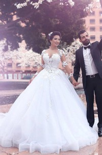 Long Sleeve Ball Gown V-neck Floor-length Court Train Tulle Wedding Dress with Appliques