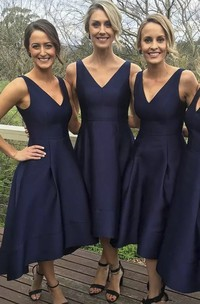 Simple Sleeveless V-neck A-Line Satin Tea-length Bridesmaid Dress