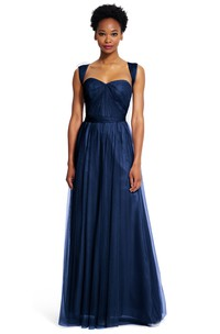 A-Line Long Ruched Strapped Sleeveless Tulle Bridesmaid Dress With Sash