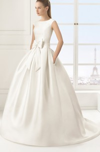 Angelic Sleeveless Satin Ball Gown With Bow Sash