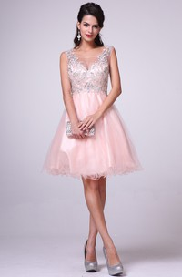 A-Line Long Bateau Sleeveless Tulle Satin Illusion Dress With Beading And Ruffles