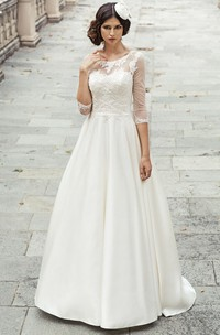 A-Line Long 3-4-Sleeve Appliqued Scoop-Neck Satin&Lace Wedding Dress