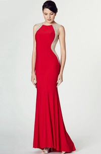 Sleeveless Scoop Neck Beaded Jersey Prom Dress With Keyhole