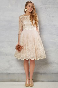 A-Line Bateau-Neck Knee-Length 3-4-Sleeve Lace Wedding Dress With Illusion