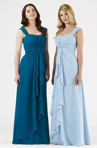 Maxi Straps Draped Sleeveless Chiffon Bridesmaid Dress