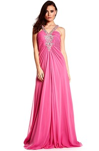 A-Line Sleeveless Ruched Floor-Length Empire Chiffon Prom Dress With Beading