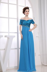 Off-The-Shoulder Ruched Maxi Chiffon Formal Dress With Beading and Criss Cross