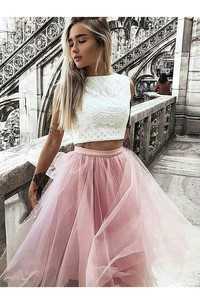 A-line Two Piece Knee-length Sleeveless High Neck Pleats Ruching Lace Tulle Homecoming Dress