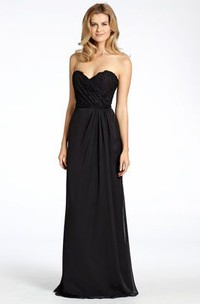 Sheath Sweetheart Sleeveless Appliqued Chiffon Bridesmaid Dress With Low-V Back