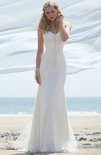 V-Neck Maxi Lace Wedding Dress With Straps