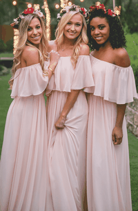 Off-the-shoulder Adorable Chiffon Bridesmaid Dress With Ruching And Pleats