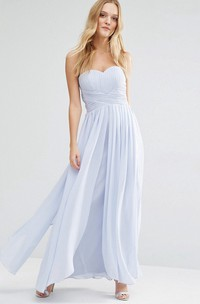 Sheath Sweetheart Pleated Chiffon Bridesmaid Dress With Ruching And Zipper