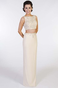 Pencil Sleeveless Long Beaded Jewel-Neck Chiffon Prom Dress With Split Back