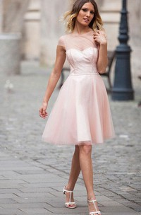 Cap-sleeved A-line Knee-length Dress with Illusion Style
