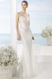 Long Scoop Beaded Tulle Wedding Dress With Sweep Train And Illusion