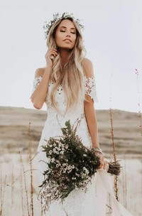 Bohemian Country Style Lace Off-the-shoulder Short Sleeve Wedding Dress