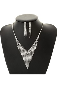 Classic Bridal and Evening Party Rhinestone Necklace and Earrings Jewelry Set