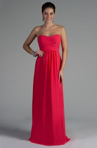 Sweetheart A-Line Chiffon Long Bridesmaid Dress With Criss-Cross Bandage