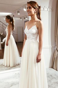 Cute Lace Appliqued Simple Spaghetti Wedding Dress With Ethereal Tulle Skirt