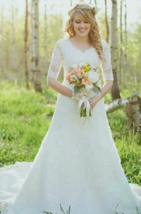 A Line V-neck Lace Zipper Wedding Gown
