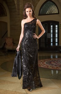 One-Shoulder Long Gown With Allover Sequins And Illusion Back