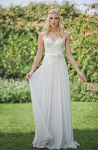 Chiffon Lace Weddig Dress With Beading Flower Lace-Up Back