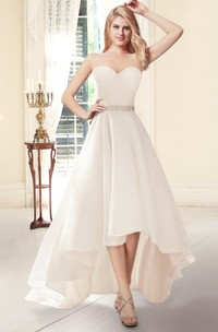Sweetheart High-Low Organza Wedding Dress